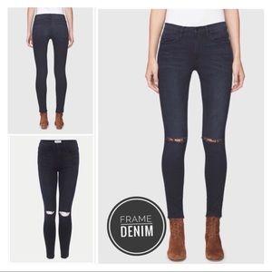 FRAME DENIM Le High Skinny Distressed Jeans